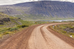 Gravel empty route - Westfjords, Iceland. Stock Photo