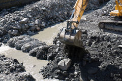 Gravel excavated in mainstream of the river Stock Photo
