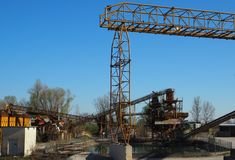 Gravel extraction site. With machineries Royalty Free Stock Images