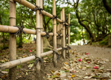 Gravel footpath in the Ritsurin Koen-Chestnut Grove Garden between bamboo fences Stock Image