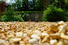 Gravel in the garden stock photography