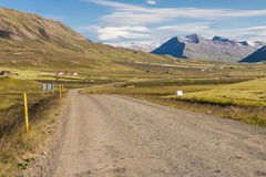 Gravel mountain route  from Brunastadir village to Stock Image