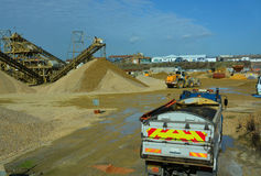 Lorry moving gravel Royalty Free Stock Images