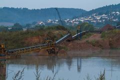 Gravel open pit mine. Royalty Free Stock Photography