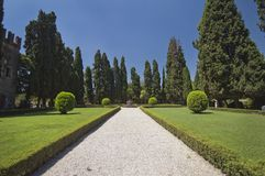 Gravel Path In The Center Of A Garden Stock Photography