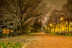 Gravel path at a city park at night Royalty Free Stock Image