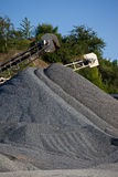 Gravel piles. Conveyor belts with agreggate piles Royalty Free Stock Image