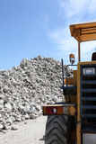 Gravel piles in a quarry. Piles of gravel at industrial site Stock Image