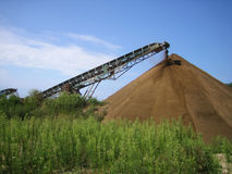 Gravel pit. Conveyor on site at gravel pit Stock Photo