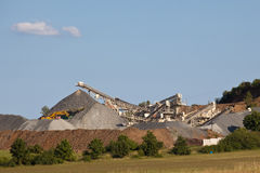 Gravel pit. Gravel production with conveyor belts Stock Images