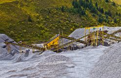 Gravel pit and belt conveyor Stock Photos