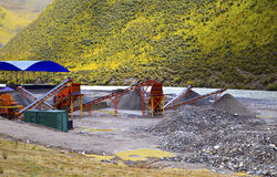Gravel pit and belt conveyor Stock Photo