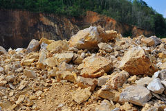 Gravel pit excavations. Drilling industry to destroy the natural soil Stock Photo