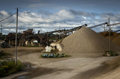 Gravel Pit. Large gravel pit full of equipment and conveyors Royalty Free Stock Photos