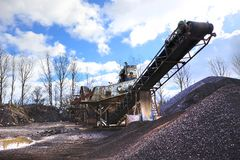 Gravel Pit machines and trucks Stock Photography