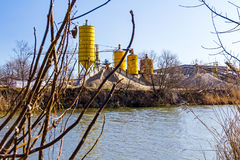 Gravel pit with several silos Stock Photography