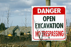 Gravel Pit Warning Signage Stock Images