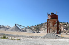 Gravel plant with belt conveyor and nozzle Royalty Free Stock Image
