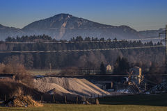 Gravel plant. Landscape in the midst of the mountain Royalty Free Stock Photo