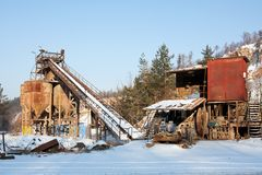 Gravel quarry, belt conveyors and silos Stock Photos