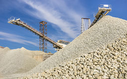 Gravel Quarry. Wide view of different kind of stacks of gravel with working machines Stock Photography