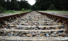 Gravel on railroad tracks stock images