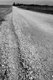 Gravel Road. In Black and White Royalty Free Stock Photo