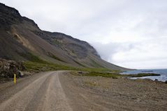 Gravel road. In southern fjords, Iceland Royalty Free Stock Photo