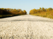 Gravel Road. Low angle view of a rural gravel road going into the distance Stock Photo