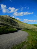 Gravel Road. Gravel back road with blue sky over head Stock Photo