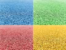 Gravel road blue green pink yellow stock images