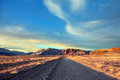 The gravel road between boundless Pampas Royalty Free Stock Photo