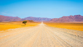 Gravel road crossing the colorful Namib desert, in the majestic Namib Naukluft National Park, best travel destination in Namibia, Royalty Free Stock Image