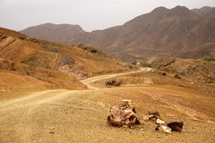 Gravel road through Draa valley. Corrugated Gravel road through Draa valley, Morocco Stock Images