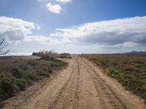 Gravel Road - Fuerteventura, Canaries, Spain Royalty Free Stock Photos