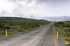 Gravel Road through Geothermal Area in Iceland Stock Images