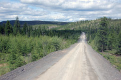 Gravel road Kolyma state highway outback Stock Image