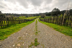 Gravel road leads onto a farm Stock Photo