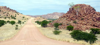 Gravel road in Namibia. A long scenic gravel road in Namibia Stock Photography