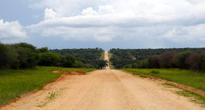Gravel road in Namibia. A long scenic gravel road in Namibia Stock Photos