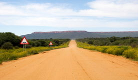 Gravel road in Namibia. A long scenic gravel road in Namibia Royalty Free Stock Image