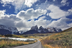 The gravel road  of national park to Torres del Paine Stock Photo
