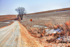 Gravel Road Near Frankville. A country road near Frankville in early winter stock photo