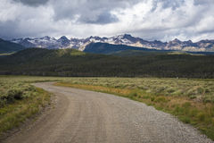 Gravel road, Sawtooth Mountain Range, Idaho Royalty Free Stock Photos