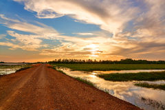 Gravel road with sunset. Gravel road pass the green field on evenning with sunset Stock Image