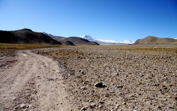 Gravel road to mountain everest Stock Image