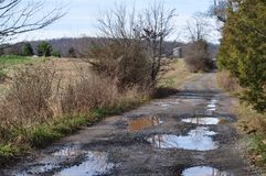 Gravel Road with Potholes. A gravel road in the Virginia countryside filled with potholes and puddles Stock Image
