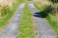 Gravel roadway. A local gravel roadway leading to a farm Stock Image