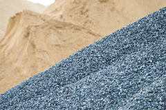 Gravel and sand. In industry construction stock photography