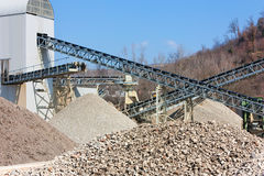 Gravel and sand pit. Conveyor belt in the gravel and sand pit Stock Photography